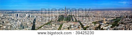 Paris panorama, France. View on Eiffel Tower, Les Invalides and La Defense from Montparnasse Tower.
