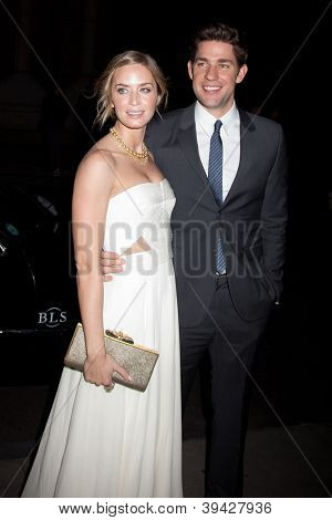 NEW YORK, NY - NOVEMBER 26: Actors John Krasinski (R) and Emily Blunt attend the IFP's 22nd Annual Gotham Independent Film Awards at Cipriani Wall Street on November 26, 2012 in New York City