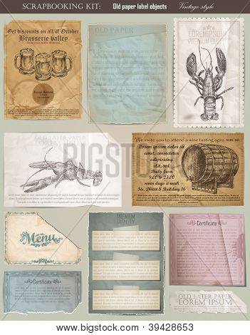 Scrapbooking set. old paper textures: different aged paper objects and elements for your layouts