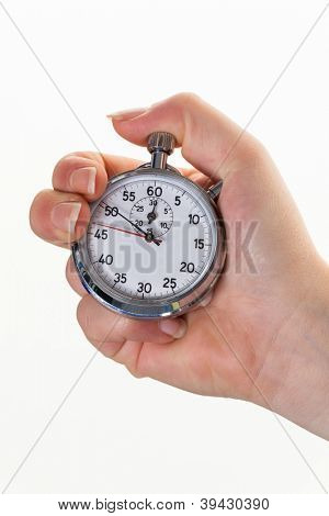 a hand with a stopwatch for timing. isolated white background