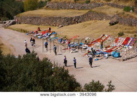 Outdoor Market Of Crafts Set Up Near Inca Ruins
