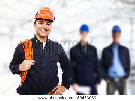 Portrait of a smiling worker