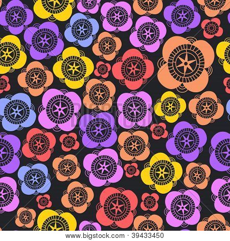 Dark colorful floral seamless pattern, vector