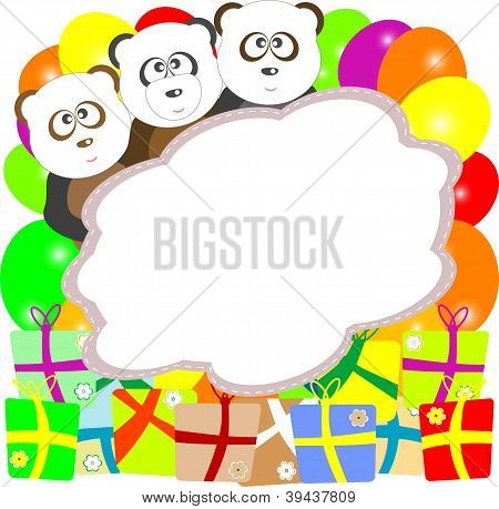 Baby Birthday Card With Bear Panda And Gift Boxes
