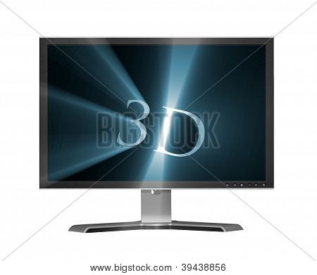 Isolated Lcd Monitor With 3D Letters