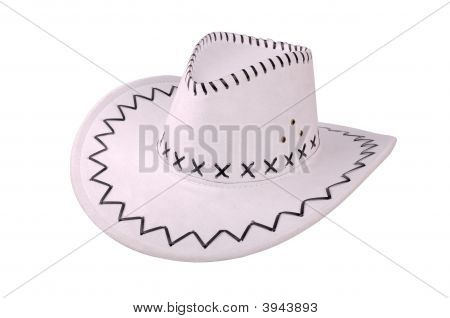White Cowboy Hat Isolated On White
