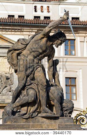 Hradcany Castle And Battling Titan Statue