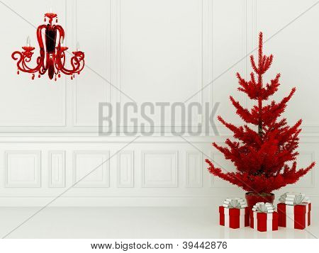 Red Christmas Tree And Lamp