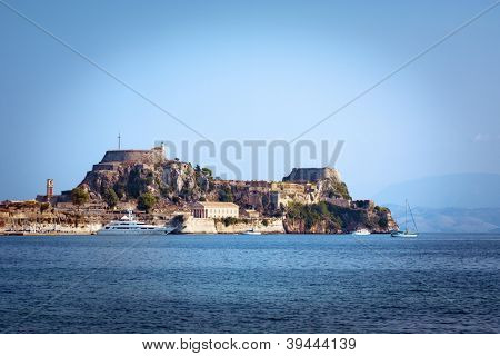the old fortress of Corfu town (Kerkyra), a yacht at the pier