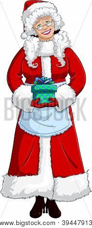 Mrs Santa Claus Holding A Present For Christmas