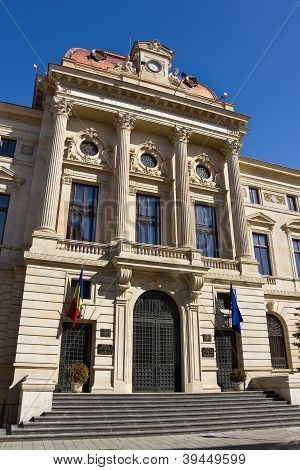 Impressive building of the BNR (Banca Nationala a Romaniei) Romanian National Bank located in the historical center of Bucharest