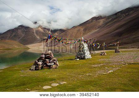 Buddhist Stupas At Chandratal