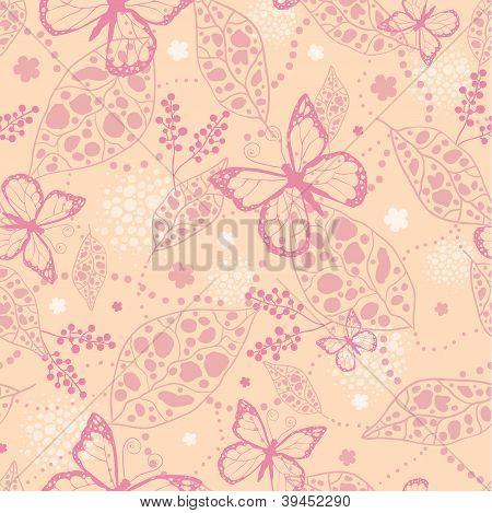 Pink Butterflies Seamless Pattern Background