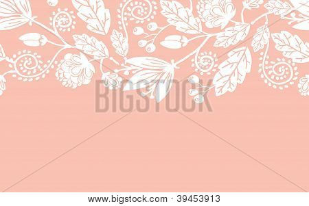 Wedding flowers and leaves horizontal seamless pattern border