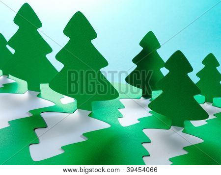 Christmas tree paper cutting design card.
