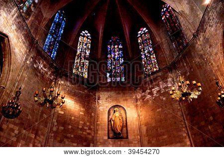 Old Stone Basilica St Maria Del Pi, Saint Mary Of Pine Tree, Barcelona, Spain