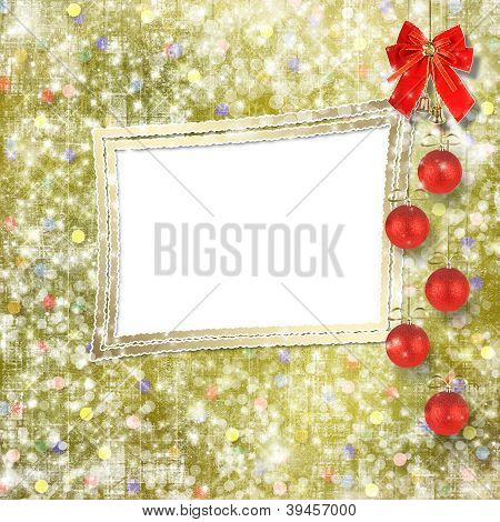 Christmas Balls And Red Bow With Bells On Abstract Snowy Background