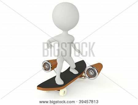 3D Humanoid Character Drive On A Skateboard