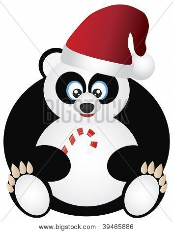 Panda Sitting With Santa Hat And Candy Cane