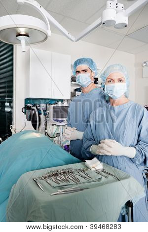 Portrait of two veterinarian surgeons with hands clasped in operating room