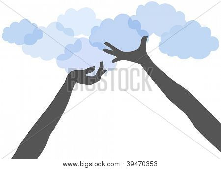 People hands support or offer SAAS or other services on cloud computing platform