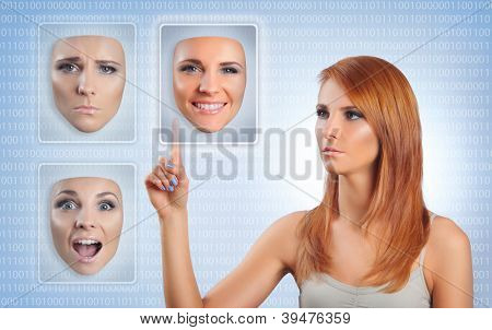young woman choosing happy face