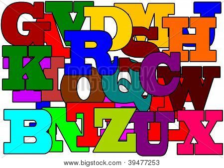Many large colored letters