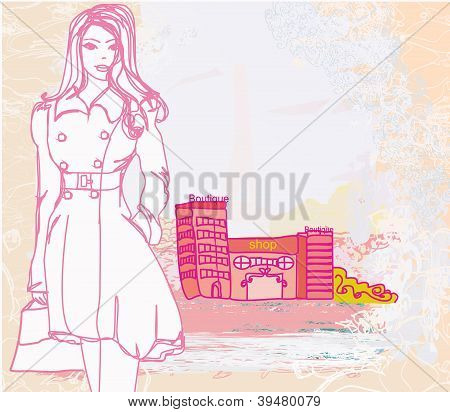 Abstract Fashion Girl Shopping - Illustration