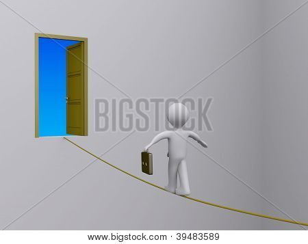 Businessman On Tightrope Trying To Reach Open Door
