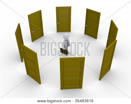 Businessman Is Thinking Which Door To Choose