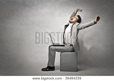 Businessman stretching
