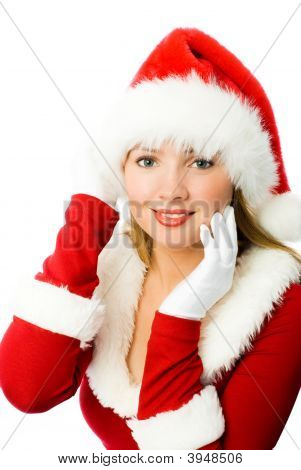 Beautiful Girl Dressed As Santa