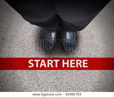 Business Man At Starting Line Road Path