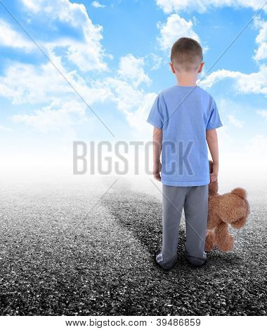 Lonley Boy Standing Alone With Teddy Bear