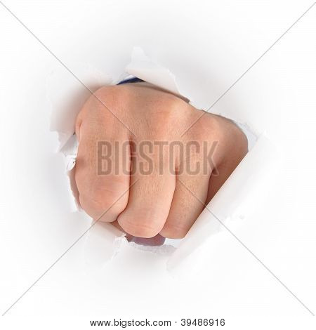 Hand Punching Through White Paper