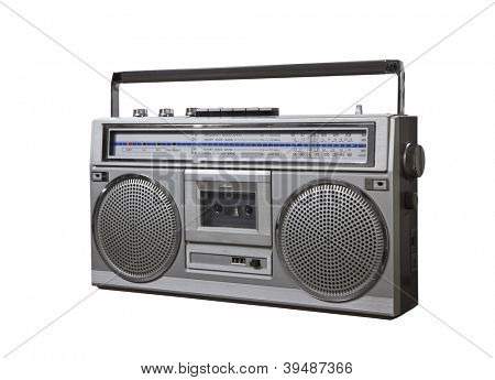 Vintage bom box portable stereo isolated with clipping path.