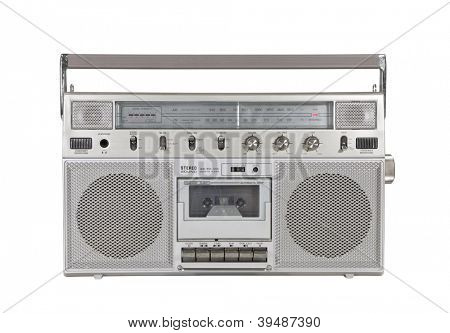 Old portable cassette stereo isolated with clipping path.