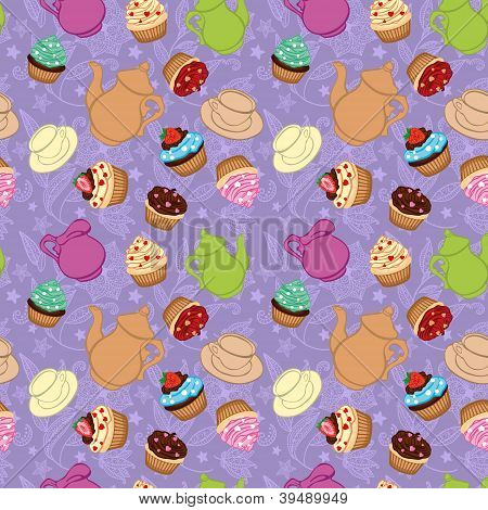 Tea violet background  with cupcakes