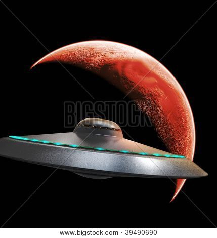 Ufo Flying To Red Planet