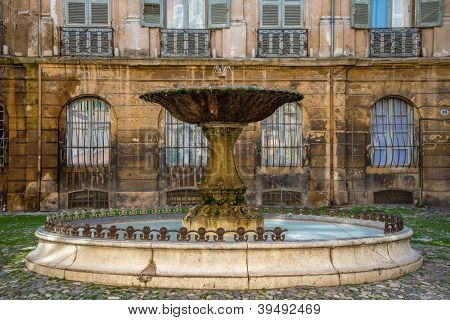 Fountain on Albertas square, Aix-en-Provence, France