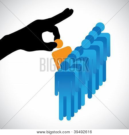 Concept Illustration Of Choosing The Best Employee. The Graphic Shows Company Hr Represented By Hand
