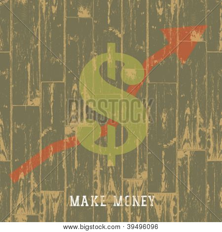 Dollar sign with arrow, business growing concept. VEctor illustration, EPS10