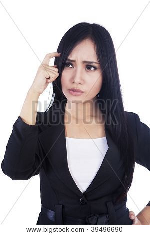 Businesswoman confused Isolated Over White