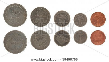 New Malaysian sen coins isolated on white