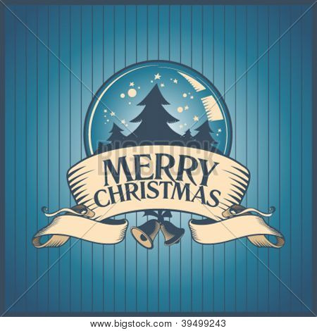 Christmas card with snow globe.