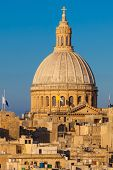 stock photo of carmelite  - The Dome of the Carmelite Church in Valletta Malta - JPG