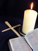 Candle, Bible And Palm Crosses