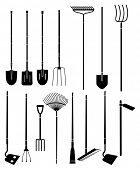 stock photo of hoe  - Silhouette set of long handled gardening tools - JPG