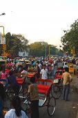 Rickshaws In Street In Delhi