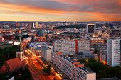 stock photo of dom  - aerial image of berlin skyline with potsdamer platz and berliner dom at dawn - JPG